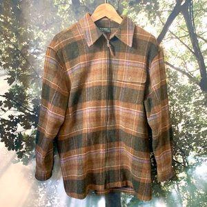 🔥Ralph Lauren 100% Lambs wool Jacket M Plaid ZIP